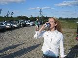 dr. em drinking woman