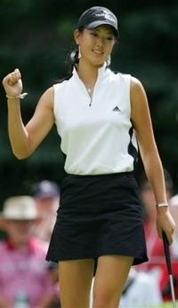 Annika Sorenstam's got shoulders like a man / and I can say that cuz I've got a puppet on my hand!
